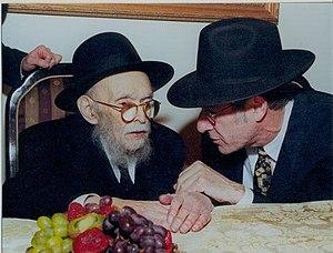 Avraham Yaakov Pam - Rabbi Pam, left, conversing with Rabbi Benjamin Yudin