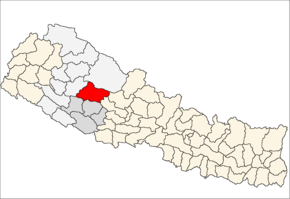 Rukum District i Rapti Zone (grå) i Mid-Western Development Region (grå + lysegrå)