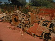 Rusted wreckage of a Zero fighter, part of the Niihau Incident.jpg