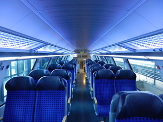 Dresden S-Bahn - A 2007 double-deck carriage with bluish LED lighting. The carriages are the first of their kind in the world to implement all lighting with LEDs.