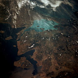 Photograph of the Sea of Marmara from space (STS-40, 1991). The sea is the light-colored body of water.