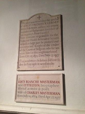 Charles Masterman - Plaque commemorating Masterman