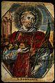 Saint Stephen. Coloured line engraving. Wellcome V0033000.jpg