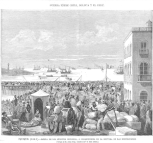 Expulsion of Chileans from Bolivia and Peru in 1879 - The Spanish magazine La Ilustración Española y Americana published on 15 June 1879 an image (of April 1879) of Chileans waiting at the port of Iquique for ships to return home.