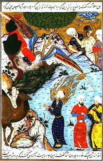 Saleh - Salih inviting his people to see the She-Camel Illuminated collection of Stories of the Prophets