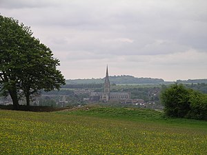 Salisbury - Salisbury Cathedral as seen from the motte at Old Sarum