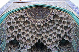 Aniconism in Islam - Muqarnas in the gate to the Shah (Abbasi) Mosque of Isfahan, Isfahan