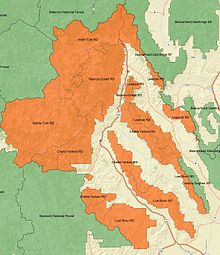 An overview map of Salmon-Challis National Forest with ranger districts and surrounding forests labelled