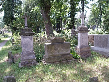Headstones of Maria Salomé and her daughters Christina Hurtig and Caroline Lessel.