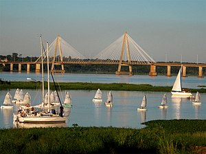 Mesopotamia, Argentina - San Roque Gonzalez Bridge, linking Posadas, Argentina and Encarnación, Paraguay