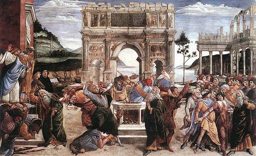 Sandro Botticelli - Castigo de Coré, Datán y Abirám (Capilla Sixtina, Roma, 1481-82)