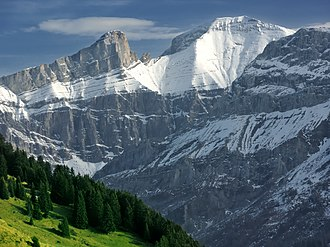 Sanetschhore - The Gstellihorn (left) and the Sanetschhorn (right) from above Les Diablerets
