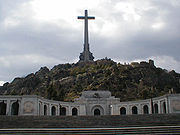 The Valle de los Caidos or 'Valley of the fallen', a colossal memorial built by Franco near Madrid after the war, ostensibly to commemorate from both sides, but widely seen as a monument to Nationalist dead only.