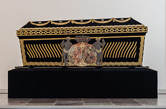 Sophie Magdalene of Brandenburg-Kulmbach - Her sarcophagus with embroidered coats of arms, in Roskilde Cathedral, Denmark