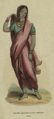 Illustration of a sari-clad, barefoot woman, c. 1847