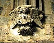 Ménsula con ángel músico.Sasamón, Burgos, (España), s XIII