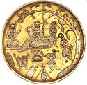 Sasanian plate with celebration, includes lute player
