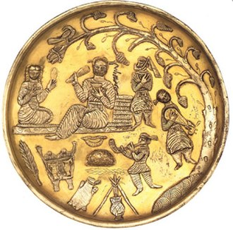 Muslim conquest of Persia - Ancient Iranians attached great importance to music and poetry, as they still do today. This 7th century plate depicts Sassanid era musicians.