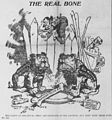 Satterfield cartoon about Harriman, Hill, and Morgan squabbling over the Northern Pacific Railroad.jpg