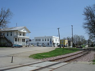 Scales Mound Historic District - A view of North Railroad Street, including the William Allan Store