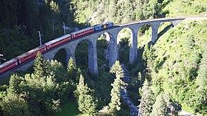 Schmittentobel Viaduct - Glacier Express on the Schmittentobel Viaduct.