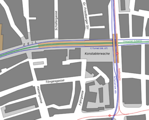 Frankfurt Konstablerwache station - Plan of the station area