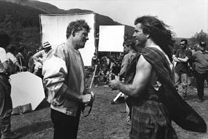 Braveheart - Gibson (right) on set with 20th Century Fox executive Scott Neeson