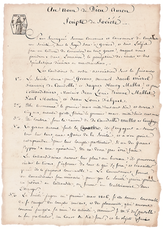 The Pictet Group - Image: Scripte de société Pictet page 1