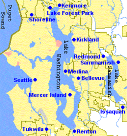 The Eastside is to the right (east) of Seattle.