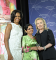 Secretary Clinton and First Lady Obama With 2012 IWOC Award Winner Aneesa Ahmed of Maldives.png