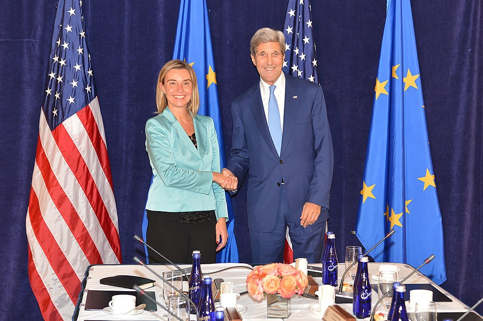 Secretary Kerry and EU High Representative Mogherini Pose for a Photo Before Their Meeting in New York City (21825001666)