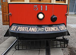 Portland Vintage Trolley - The cars were replicas of trolley cars that served Portland's Council Crest line from 1904 to 1950, and carried this marketing slogan that had once been worn by the original cars.
