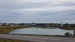 View over Selfoss, looking south from the north bank of the Ölfusá river