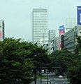 Sendai First Tower viewed from a pedway in front of Sendai station west exit.JPG