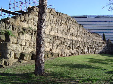 The ruins of the Servian Wall, built during the 4th century BC, one of the earliest ancient Roman defensive walls Servian Wall.JPG
