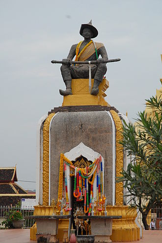 Lan Xang - Statue of King Sai Setthathirath at Pha That Luang, Vientiane