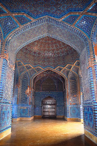 Shah Jahan Mosque, Thatta - The mosque is considered to have the most elaborate display of tile work in South Asia. Shah Jahan was impressed by the hospitality he received by the Sindhi people, and ordered construction of the mosque as a token of gratitude. Construction of the mosque may have also been partially motivate by a desire to help alleviate the effects of a devastating storm that impacted the region in 1637, during the reign of Emperor Aurangzeb.
