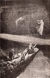 Depiction of She, Holly, Leo, and Job journeying to the underground cavern containing the Pillar of Life. Ayesha stands on one side of a deep ravine, having crossed over using a plank of wood as a demonstration of its safety. She beckons the three Englishmen to follow her. A great beam of light divides the darkness about them.