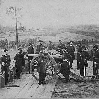 Atlanta Campaign - Union Maj. Gen. William T. Sherman and his staff in the trenches outside of Atlanta