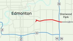 Sherwood Park Freeway is a freeway in east Edmonton, stretching 7.1 km into Strathcona County ending east of Anthony Henday Drive.
