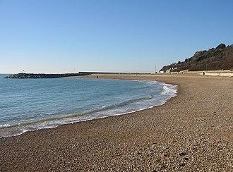 Folkestone Roman Villa - Shingle Beach at Folkestone, located at the foot of the cliffs below the Roman Villa site