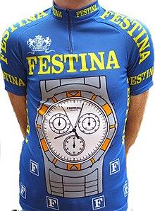 Una divisa della Festina-Lotus, la squadra ciclistica coinvolta nell'omonimo scandalo-doping al Tour de France 1998.
