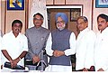 Shivraj Patil, the Governor of Maharashtra, Shri S.M. Krishna, the Chief Minister Shri Vilasrao Deshmukh and the Dy. Chief Minister, Shri R.R. Patil after addressing a press conference in Mumbai on July 28, 2005.jpg