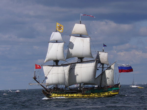 Actions in trover were often applied to cases where chattels had been placed in bailment, such as goods transported on a ship (Russian frigate Shtandart pictured), which were lost, used or stolen.