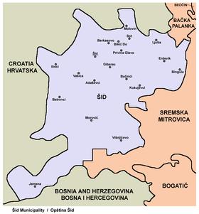 šid srbija mapa Opština Šid — Vikipedija, slobodna enciklopedija šid srbija mapa