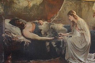Elaine of Astolat - Sidney Paget, Lancelot and Elaine