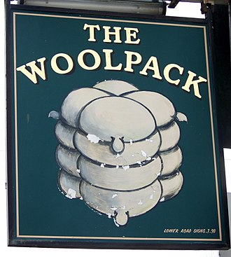 Wool bale - Sign for the Woolpack public house, Fishbourne, West Sussex, showing the historic form of the modern wool bale