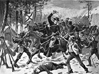 William Henry Powell (soldier) - Powell leads surprise raid on rebel camp at Sinking Creek