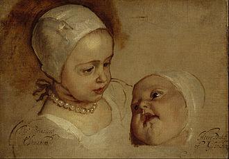 Elizabeth Stuart (daughter of Charles I) - Princess Elizabeth holding her sister Anne, painted in 1637 by van Dyck.