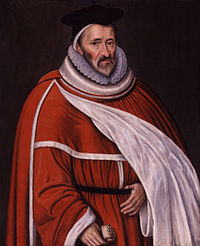 A portrait of Sir Edmund Anderson. Sir Anderson stands in bellowing orange Justice's robes, with a scroll in his left hand.